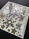 Наклейка  сріблясті Дзеркальні сніжинки (декор окон и стен зеркальные серебрянные снежинки), фото 3
