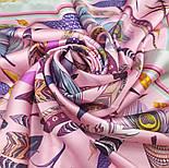 Платок шелковый (атлас) 10077-3, павлопосадский платок (атлас) шелковый с подрубкой, фото 10