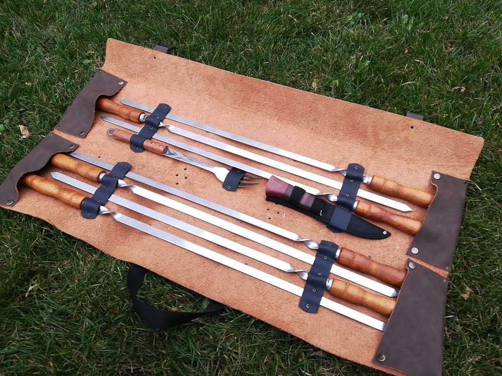 "Набор 7 шампуров для люля-кебаб ""Master "" (730х15х3 мм) + нож + вилка + чехол-скрутка"