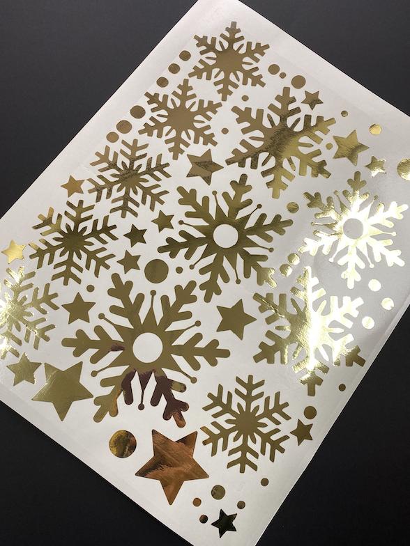 Наклейка золоті Дзеркальні сніжинки (декор окон и стен зеркальные серебрянные снежинки)