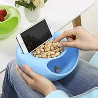 Миска для семечек с подставкой для телефона голубая