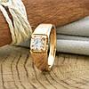 Кольцо Xuping 14460 размер 18 ширина 7 мм вес 3.8 г белые фианиты позолота 18К, фото 3