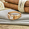 Кольцо Xuping 14460 размер 18 ширина 7 мм вес 3.8 г белые фианиты позолота 18К, фото 4
