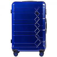 Чемодан поликарбонат Wings PC185 большой (L, 83 л) на 4 сдвоенных колесах Синий (Blue)