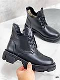 Только 40 р! Женские ботинки ЗИМА черные на шнуровке натуральная кожа, фото 4