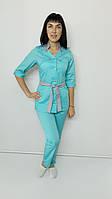 Медицинский женский костюм Тиффани коттон три четверти рукав на кнопках