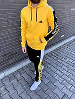 Мужской тёплый спортивный костюм Adidas желтый на флисе (реплика)