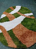 Пушистый ковер на пол Shaggy зеленый овальный