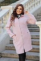 Женское зимнее пальто-кардиган батал