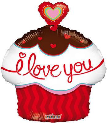 """К 18"""" I Love You Cupcake. Шар фольгированный фигура кекса Я люблю тебя"""