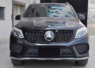 Решетка радиатора Mercedes GLE W166 стиль AMG GT (черный глянц)