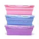 Складной ланч бокс - пищевой контейнер силиконовый / Складний ланч бокс - харчовий контейнер (зеленый), фото 3