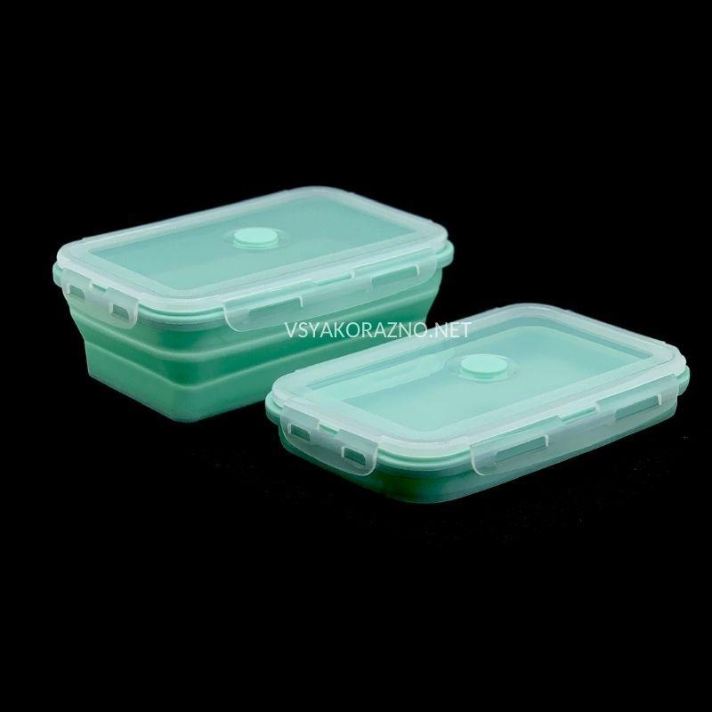Складной ланч бокс - пищевой контейнер силиконовый / Складний ланч бокс - харчовий контейнер (зеленый)