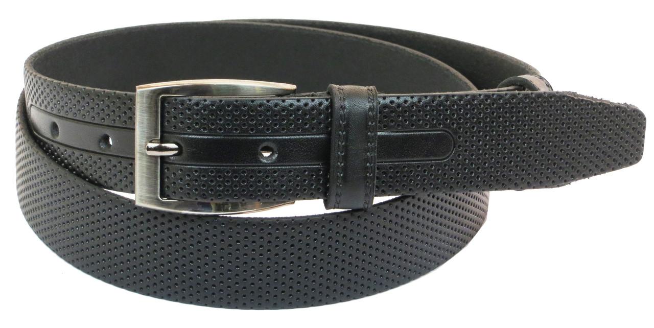 Мужской кожаный ремень под брюки Skipper 1026-33 черный ДхШ: 126х3,3 см.