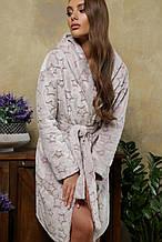 Теплый женский халат бежевого цвета с звездочками на длиный рукав по колено Фейт