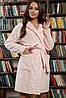 Теплый короткий женский халат розового цвета на длиный рукав с капюшоном Фейт