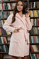 Теплый короткий женский халат розового цвета на длиный рукав с капюшоном Фейт, фото 1