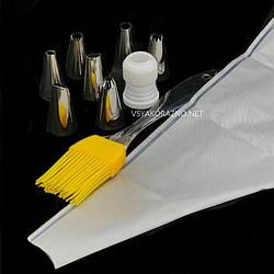 Многоразовый кондитерский мешок с кисточкой и насадками (7 шт)