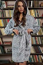 Теплый женский халат серого цвета с розами на длиный рукав по колено Фейт