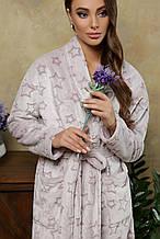 Теплый длинный махровый женский халат Феличе  цвета капучино S