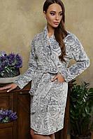 Теплый махровый женский халат Феличе на длинный рукав серого цвета, фото 1