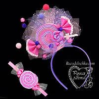 Набор ободок и браслет Конфетка леденец, розово-фиолетовая на утренник любой цвет, фото 1