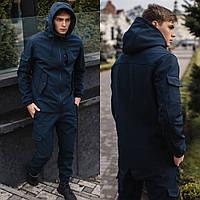 Мужские брюки-карго на флисе Soft Shell синий + Куртка демисезонная стильная. СУПЕР КОМПЛЕКТ