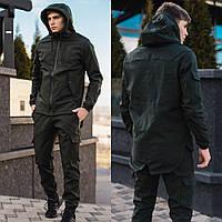 Мужские брюки-карго на флисе Soft Shell хаки + Куртка демисезонная стильная. СУПЕР КОМПЛЕКТ