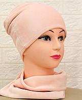 Женский набор шапка и хомут из велюра, фото 1
