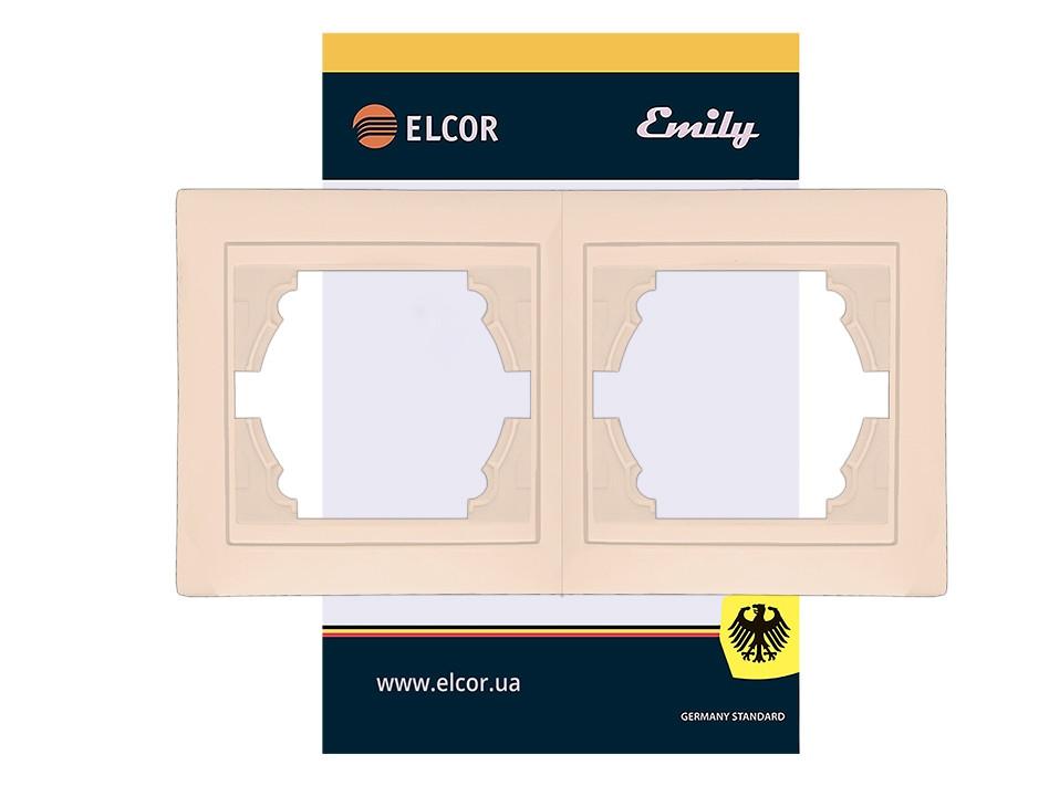 Рамка 2-місна вертикальна Emily крем ELCOR (Lemanso)