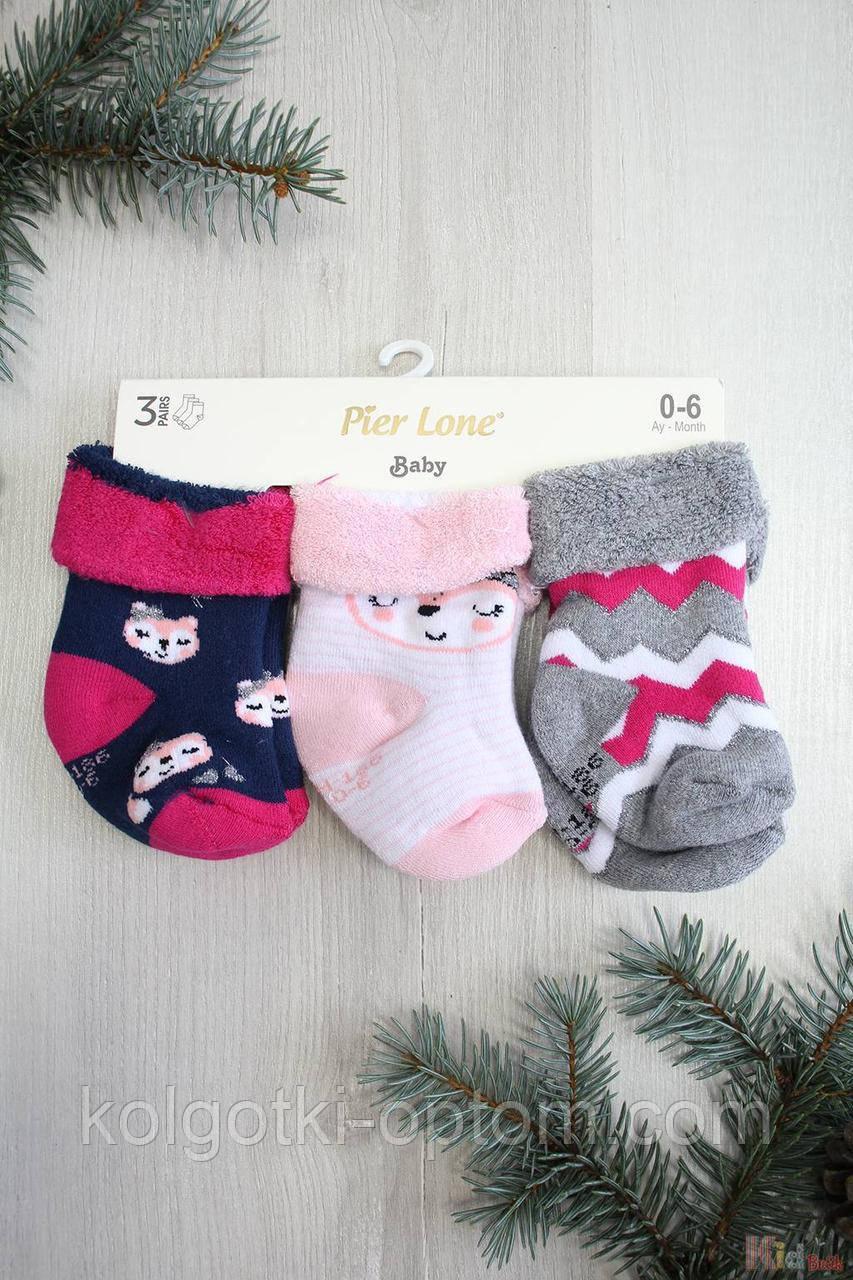 """ОПТОМ Набор носки 3шт. махровые """"Pink Fox"""" для маленькой девочки (7 / 0-3 мес.)  Pier Lone 2125000695440"""