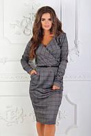 Женское деловое платье в клетку с поясом, фото 1