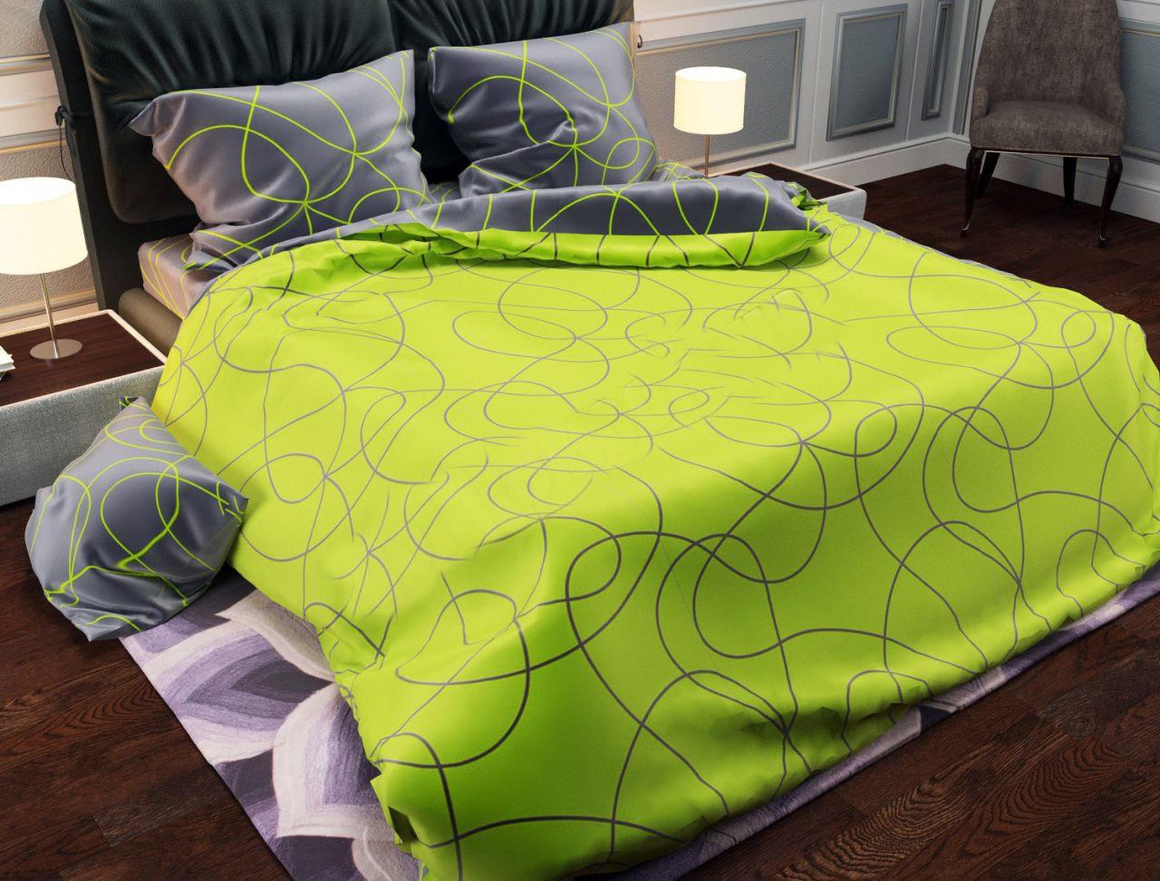 Двуспальный постельный комплект-петля салат