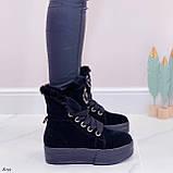 Тільки 41 р! Жіночі черевики ЗИМА зимові чорні на платформі натуральний замш, фото 2