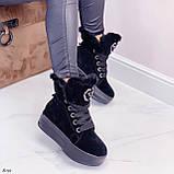 Тільки 41 р! Жіночі черевики ЗИМА зимові чорні на платформі натуральний замш, фото 3