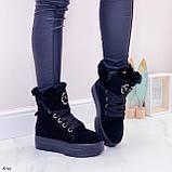 Тільки 41 р! Жіночі черевики ЗИМА зимові чорні на платформі натуральний замш, фото 6