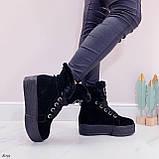 Тільки 41 р! Жіночі черевики ЗИМА зимові чорні на платформі натуральний замш, фото 5