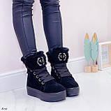 Тільки 41 р! Жіночі черевики ЗИМА зимові чорні на платформі натуральний замш, фото 4