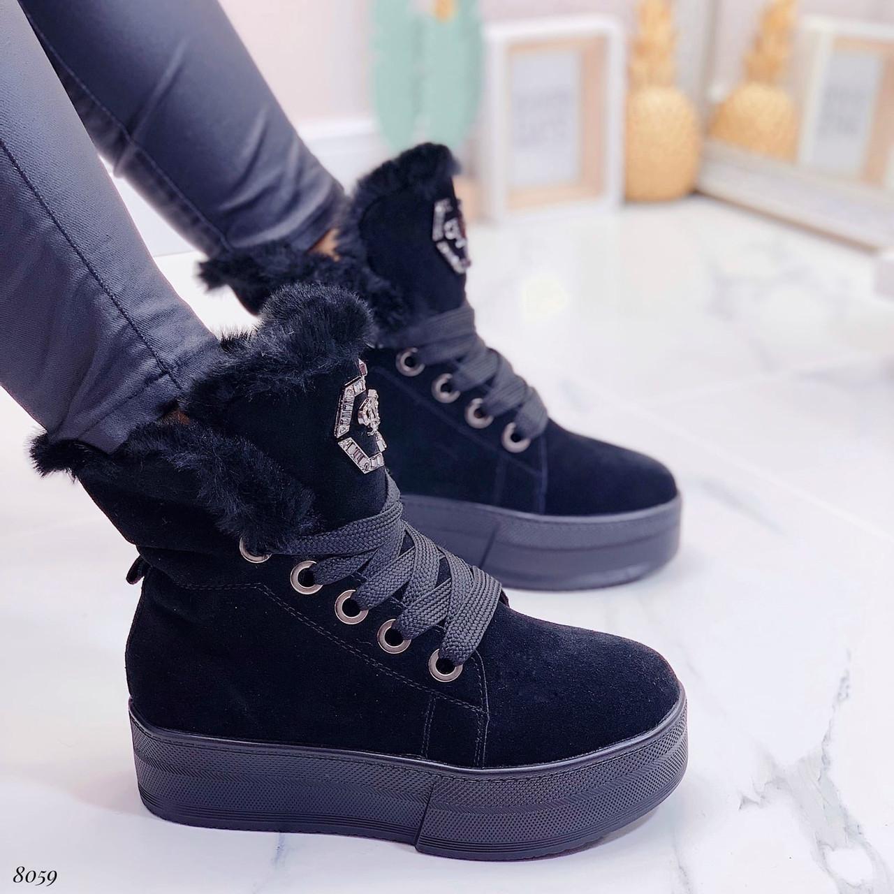 Тільки 41 р! Жіночі черевики ЗИМА зимові чорні на платформі натуральний замш