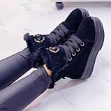 Тільки 41 р! Жіночі черевики ЗИМА зимові чорні на платформі натуральний замш, фото 7