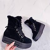 Тільки 41 р! Жіночі черевики ЗИМА зимові чорні на платформі натуральний замш, фото 8