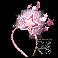 Звездочка розовая ободок на утренник ручной работы