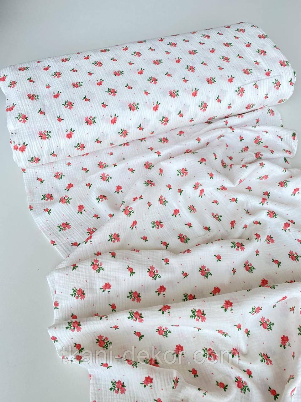 Муслин (хлопковая ткань) букеты на белом (ширина 1,35 м)