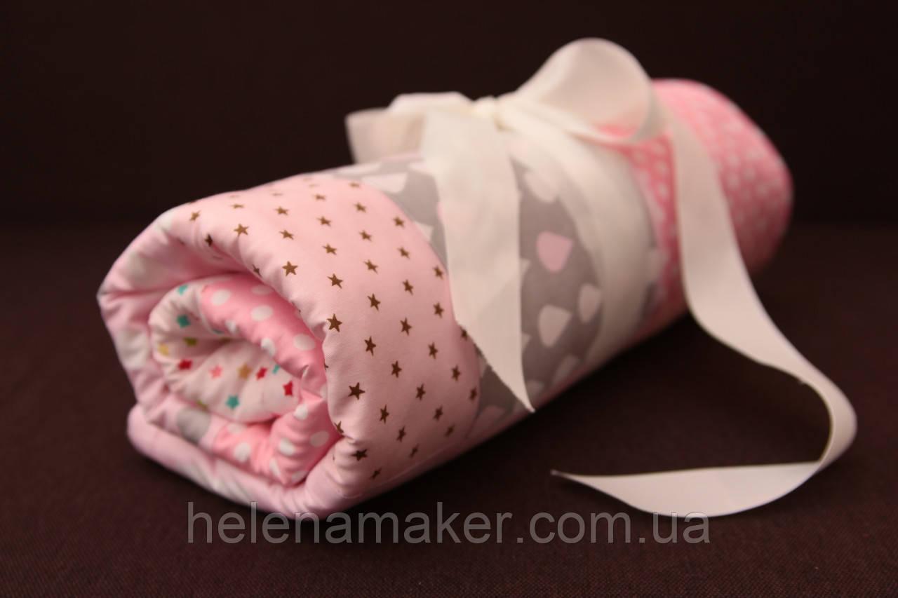 Рожевий дитячий плед, конверт на виписку в стилі печворк. Теплий плед в коляску з плюшу минки. Ручая робота.
