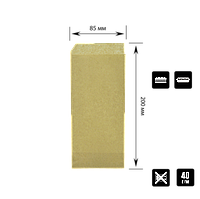 "Бумажный пакет Уголок Крафт ""Хот Дог класический"" 200х85мм (ВхШ) 40г/м² 500шт (41) , фото 1"