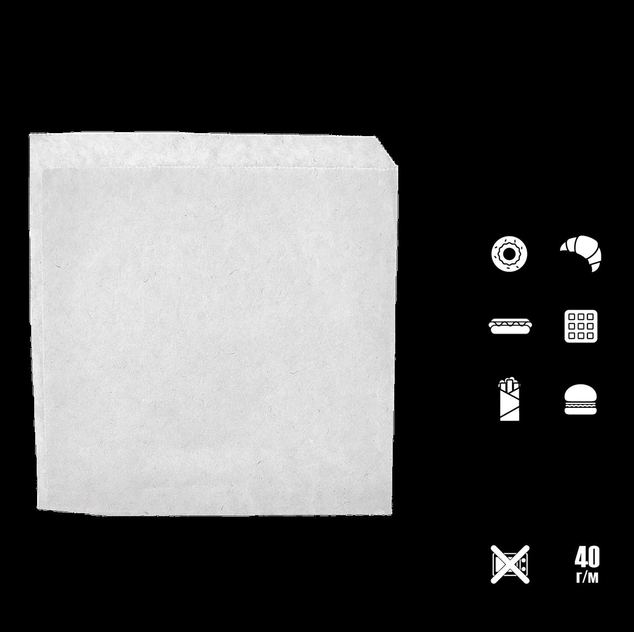 Бумажный пакет Уголок Белый 210х200мм (ВхШ) 40г/м² 500шт (31)