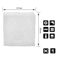 Бумажный пакет Уголок Белый 210х200мм (ВхШ) 40г/м² 500шт (31) , фото 1