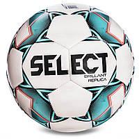 Мяч футбольный №4 SELECT BRILLANT REPLICA NEW (PVC 1000, бело-зеленый), фото 1