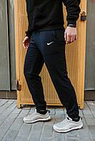 Мужские спортивные трикотажные штаны Nike на манжетах весна лето осень, черные, реплика
