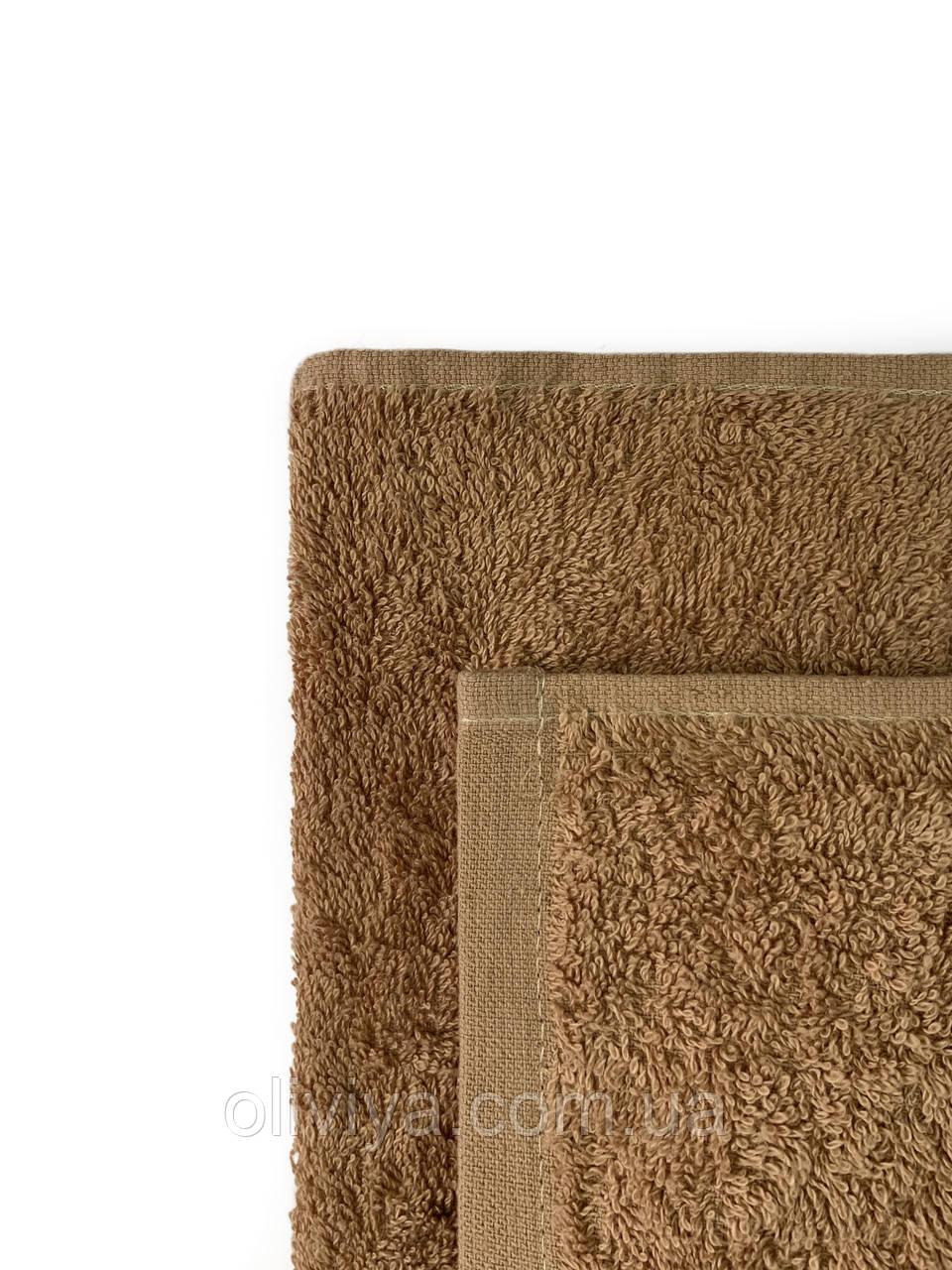 Простирадло махрова бавовна бежевого кольору 190х220